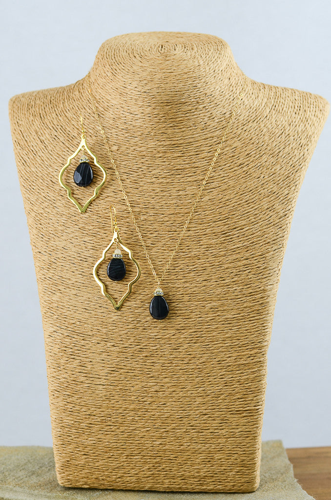Black and Gold Arabesque Set, Earring Necklace Set - Alleura Atelier