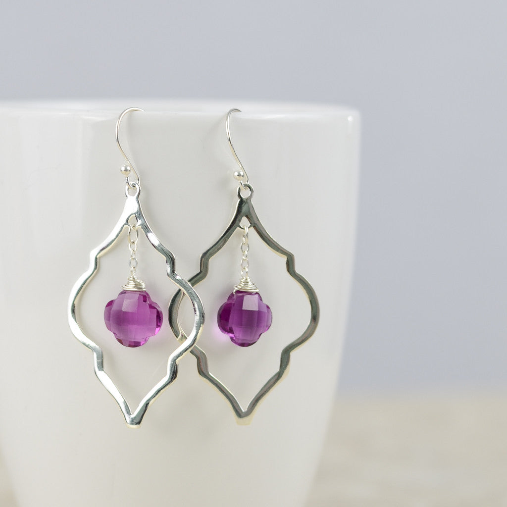 Fucshia Arabesque Earrings, Earrings - Alleura Atelier