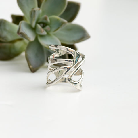 butterfly wing ring: large sterling silver statement ring