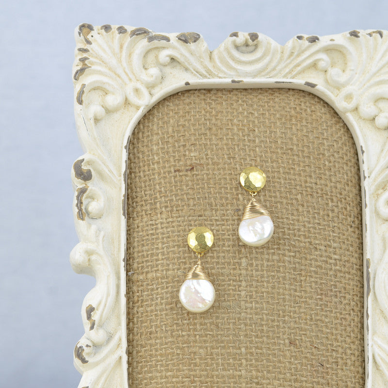 Pearl Dangle Studs, Earrings - Alleura Atelier