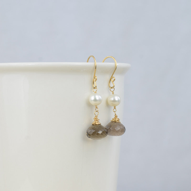 Smoky Drop Earrings, Earrings - Alleura Atelier