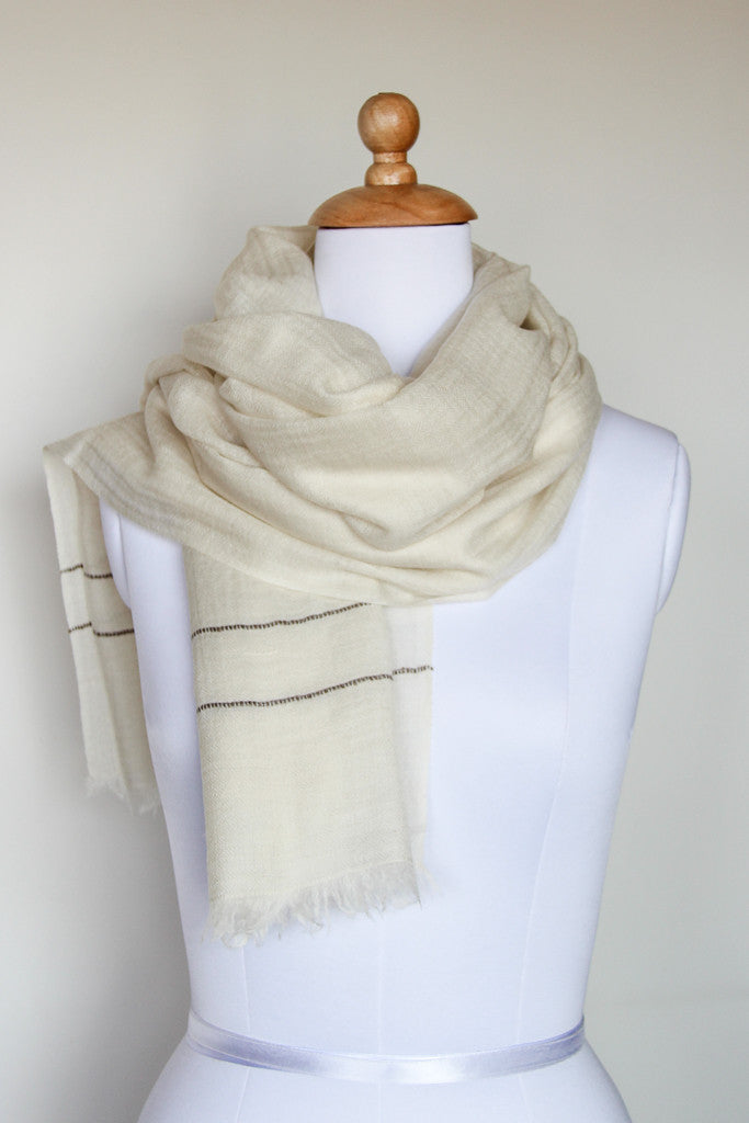 Dreamy Cream Scarf, Accessories - Alleura Atelier