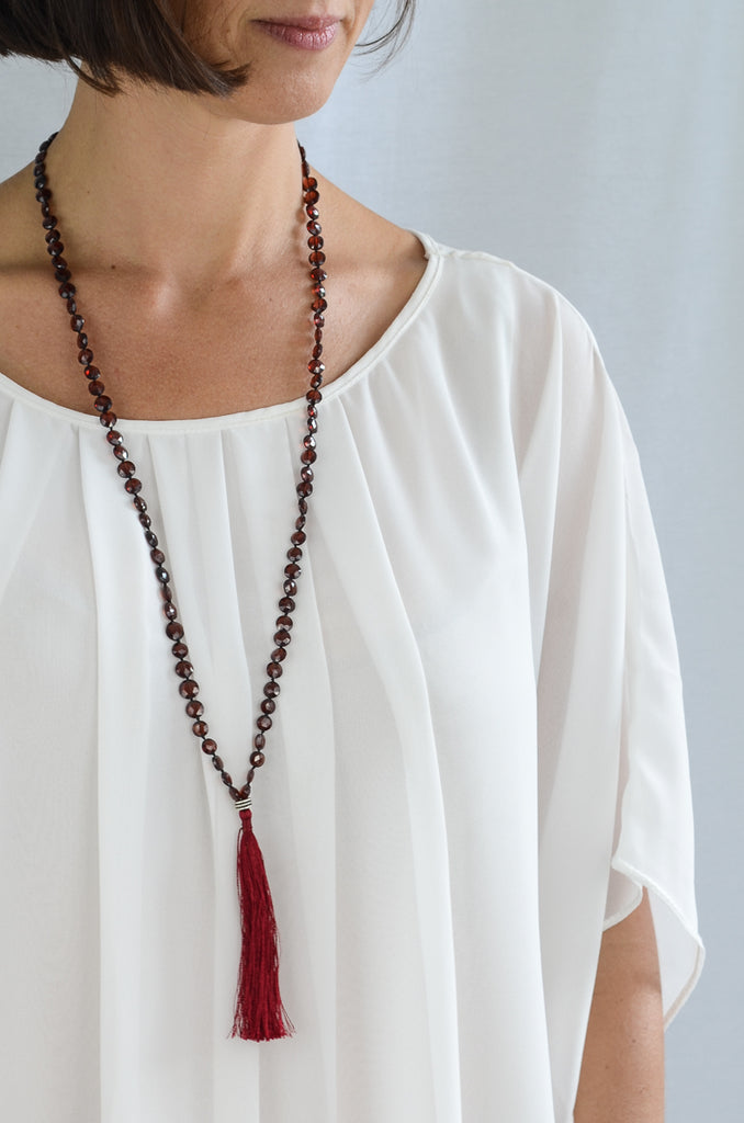 Savanna Garnet Tassel Necklace, Necklace - Alleura Atelier