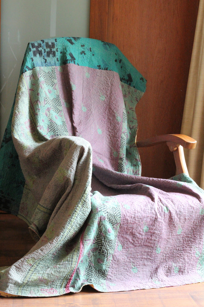 Jewel-tone Vintage Throw, Quilts - Alleura Atelier