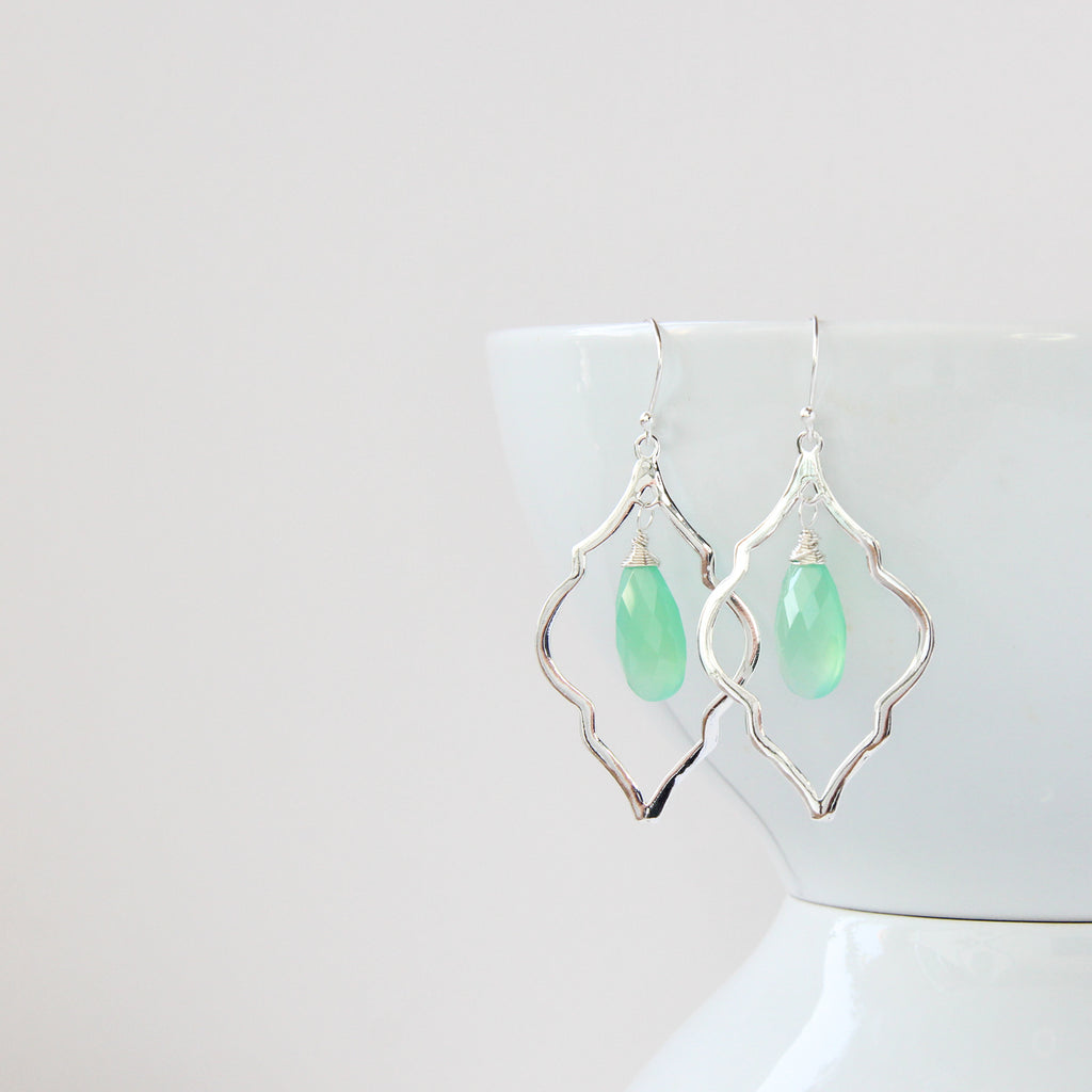 Sea Mist Arabesque Earrings, Earrings - Alleura Atelier