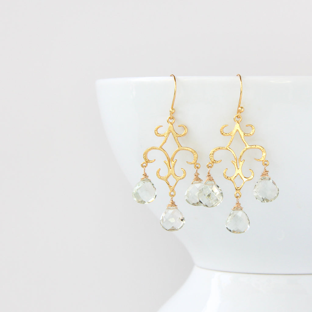 Nathalie Chandelier Earrings - Polished Gold, Earrings - Alleura Atelier