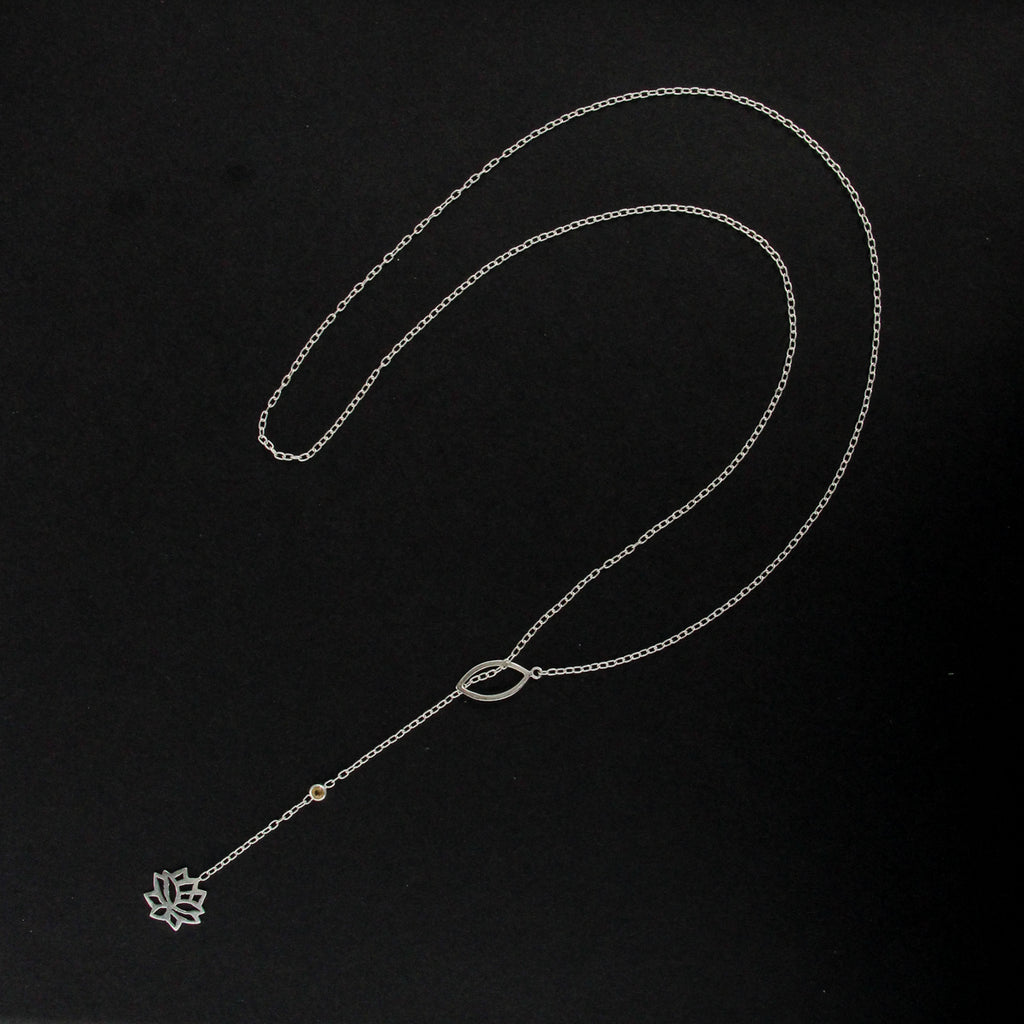 Lotus bloom lariat necklace
