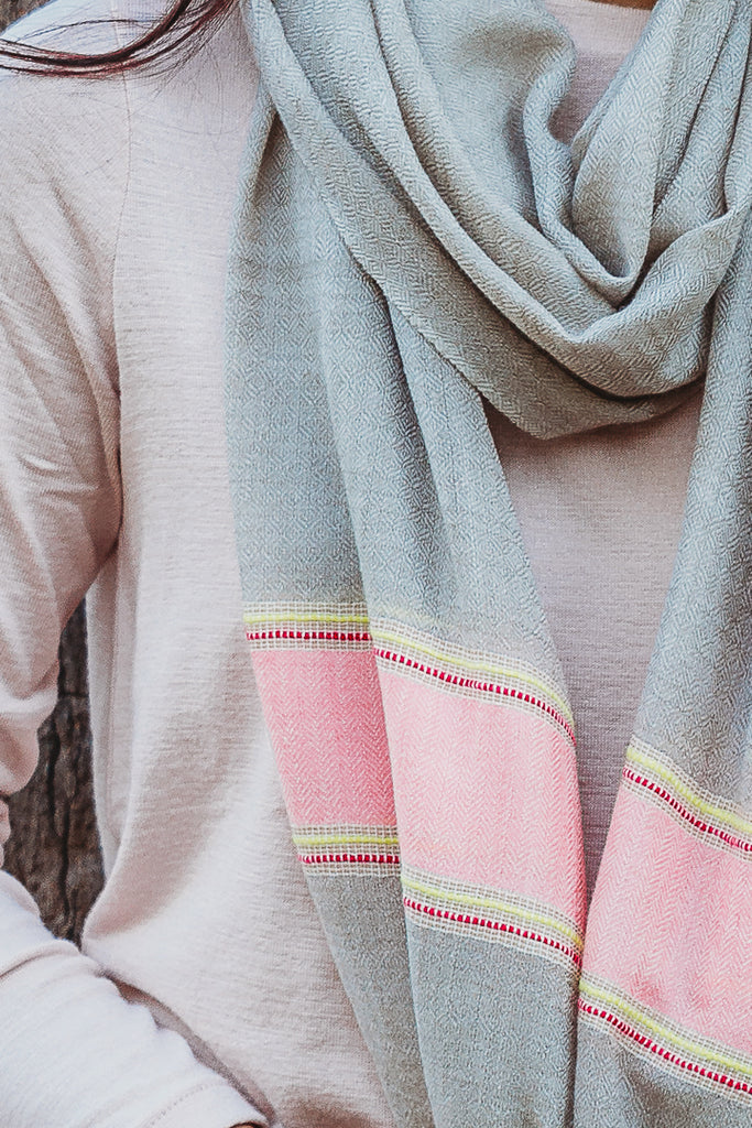 Pop of Pink Scarf, Accessories - Alleura Atelier