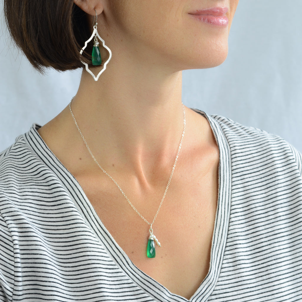 Verde Arabesque Set, Earring Necklace Set - Alleura Atelier