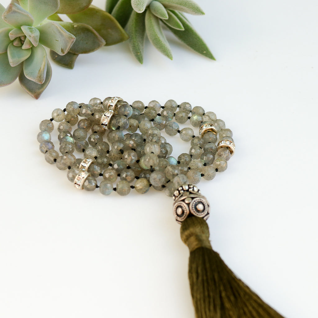Labradorite grey iridescent beads army green silk tassel necklace with sterling silver accent beads