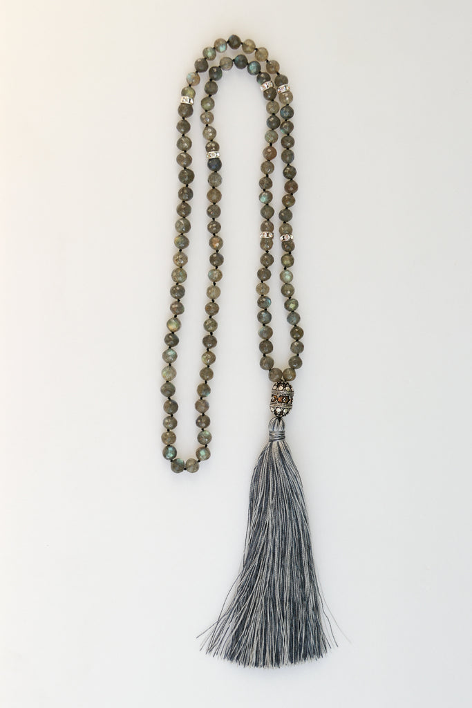 Long layering statement necklace, handmade with labradorite gemstone beads and silk tassel