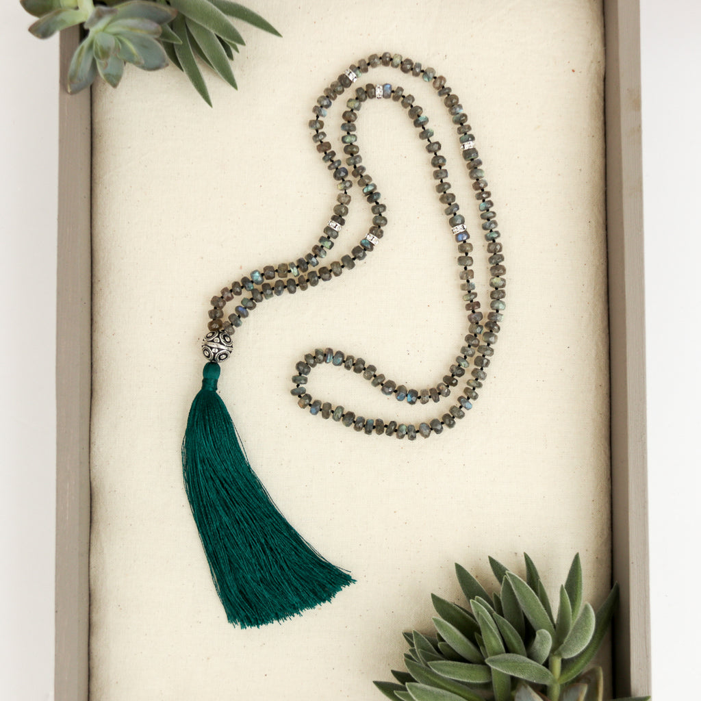 Peacock's Plume Labradorite Tassel Necklace