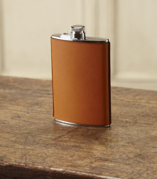8oz Leather Hand Stitched Flask