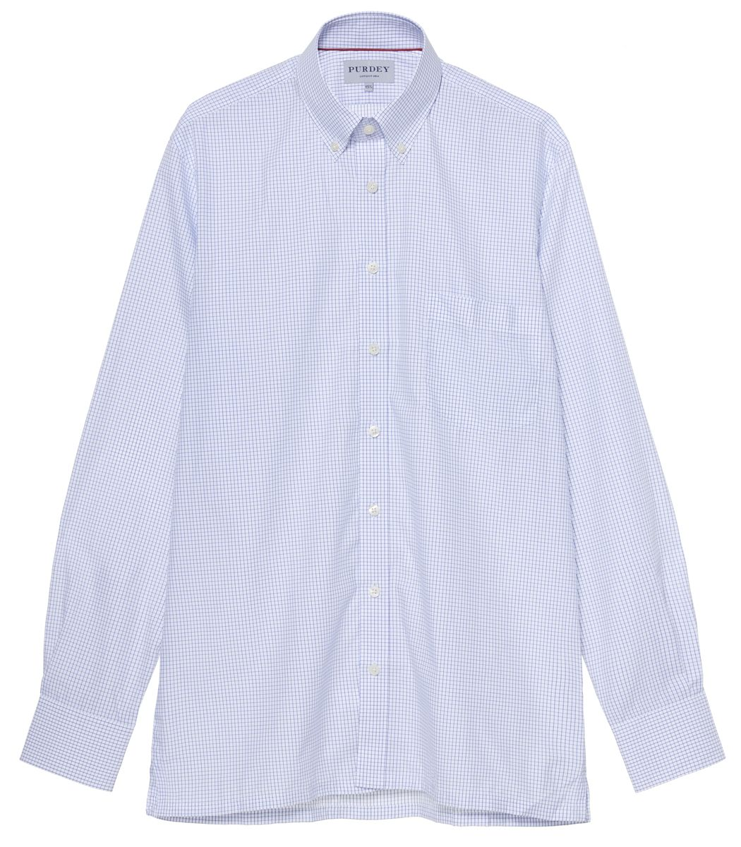 MEN'S CHECK POPLIN BUTTON DOWN COLLAR SHIRT
