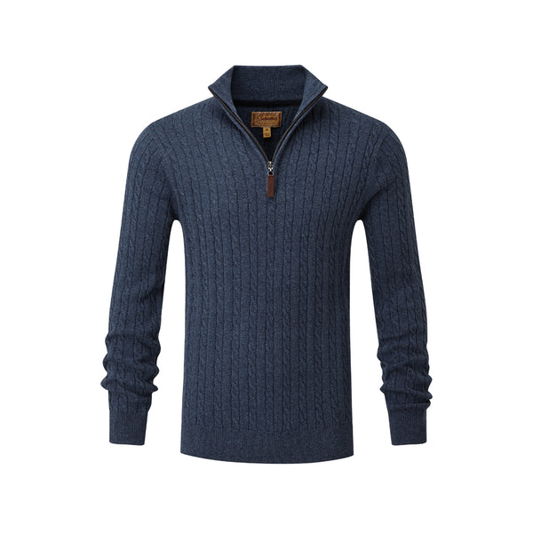 Cotton Cashmere Cable 1/4 Zip Denim