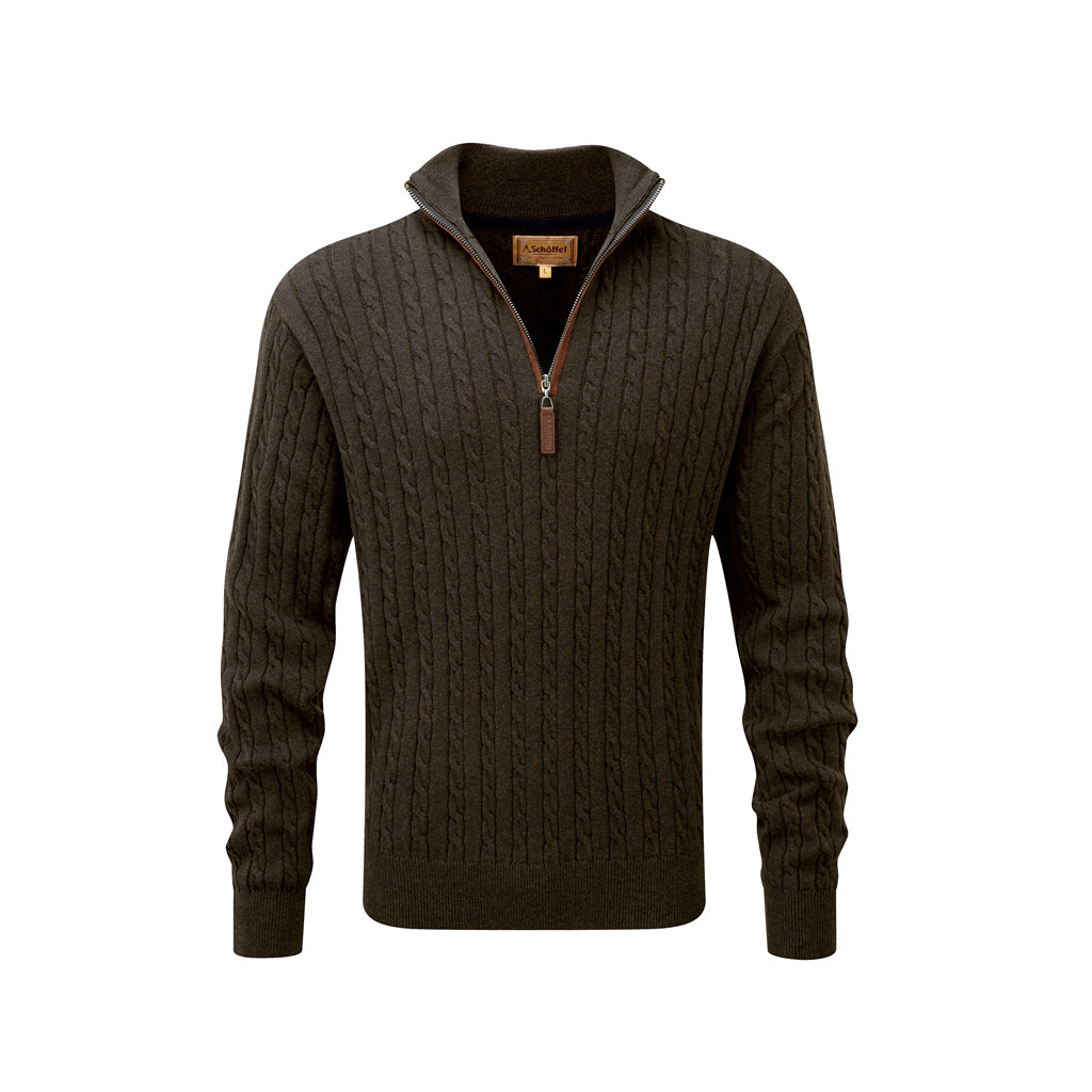 Cotton Cashmere Cable 1/4 Zip Loden