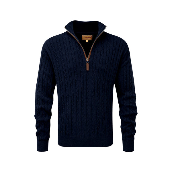 Cotton Cashmere Cable 1/4 Zip Navy