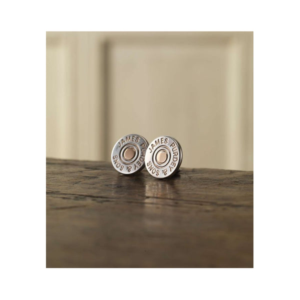 SILVER CUFFLINKS - CARTRIDGE CAP/GOLD PIN