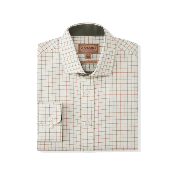 Newton Tailored Sporting Shirt Olive/Brick Check