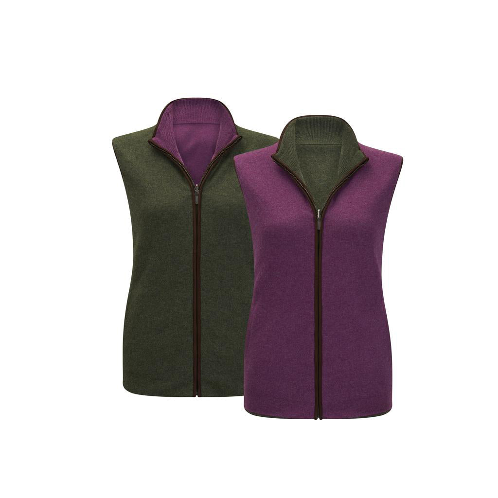Reversible Gilet - Olive/Plum
