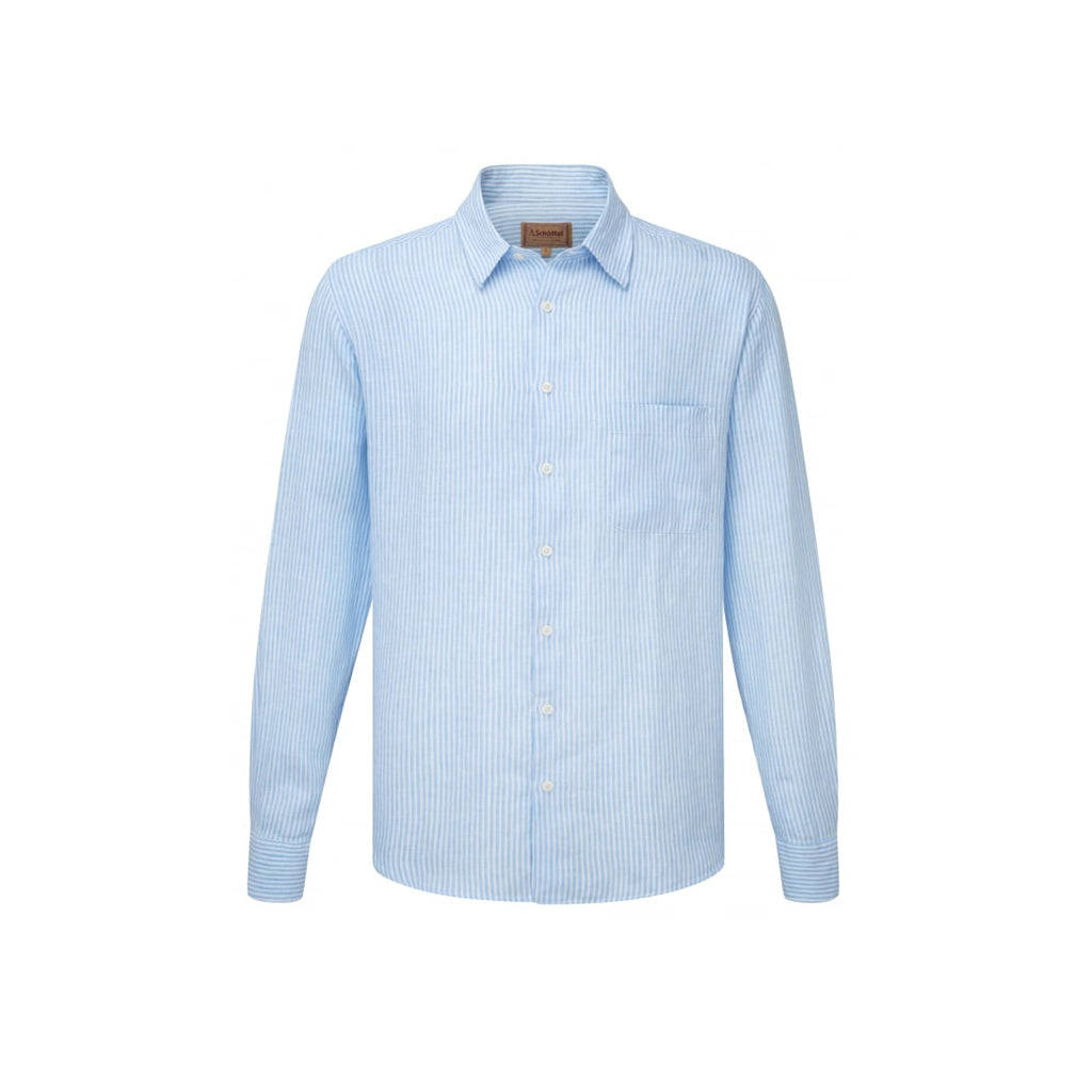 Thornham Linen Shirt White/Blue Stripe