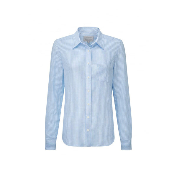 Saunton Linen Shirt White/Blue Stripe