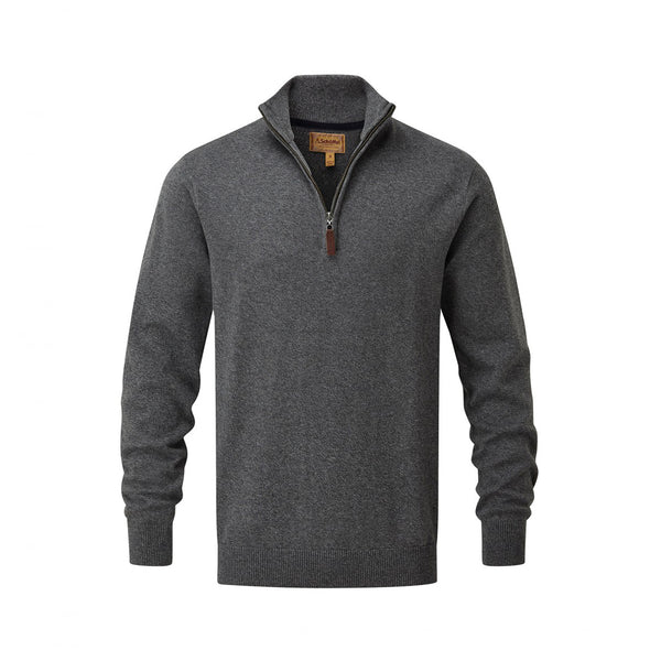 Cotton Cashmere 1/4 Zip Jumper Castle Grey