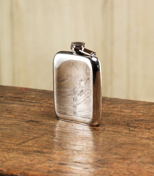 6oz Kidney Shape Flat Base Pewter Flask