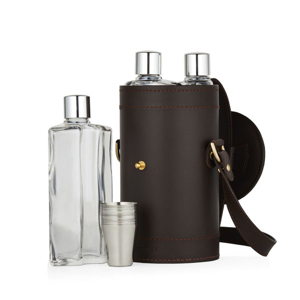 LEATHER CASED TRIPLE FLASK & POSITION FINDER SET - HAVANA