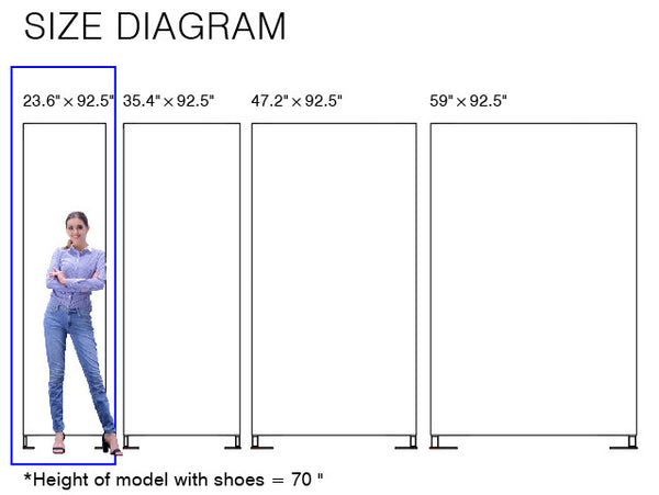 size diagram of booti 2' vertical banner stand