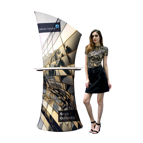 Pisci™ Asymmetrical Fabric Banner Stand With Display Shelf