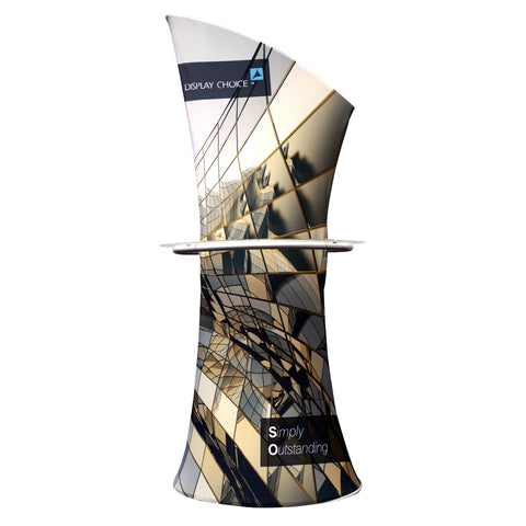 Pisci™ Asymmetrical Fabric Banner Stand With Display Shelf,Double Sided Graphic Printing Only