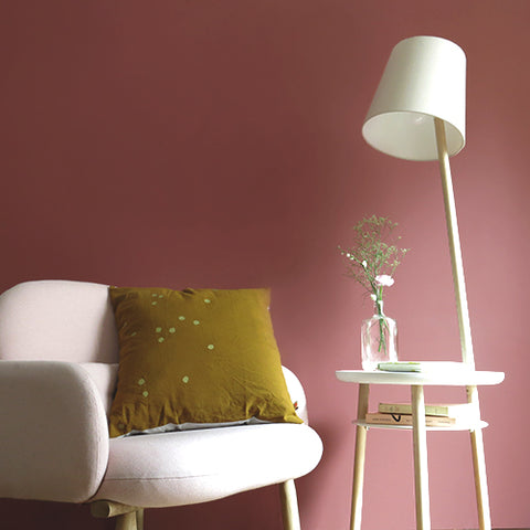 Side table with floor lamp incorporated