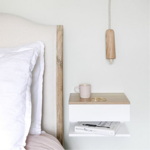 Urbansize floating bedside table with oak top