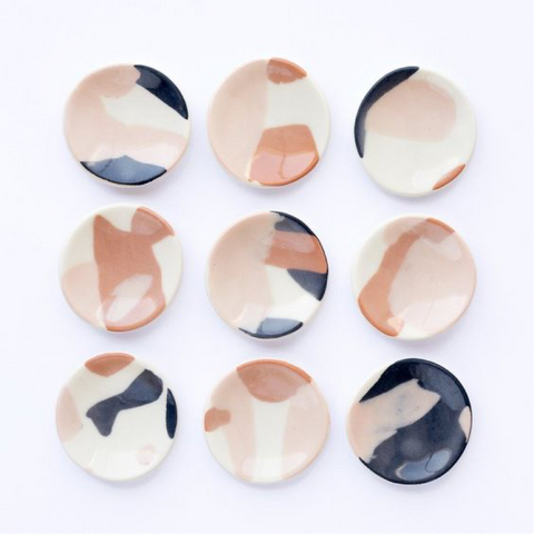 Abstract painted ceramic ring dish