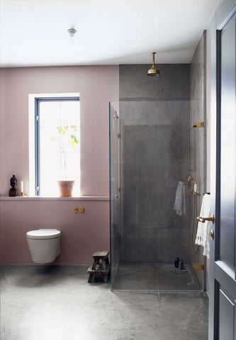 grey shower and pink accent wall in bathroom