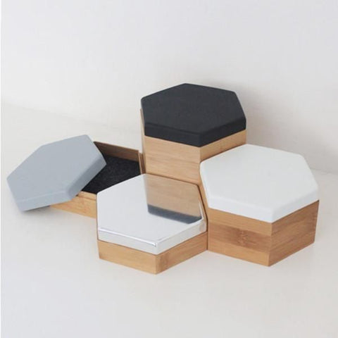 hexagonal wooden boxes