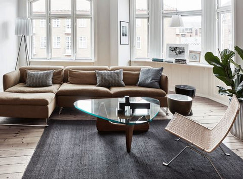 brown sofa in Scandi style living room