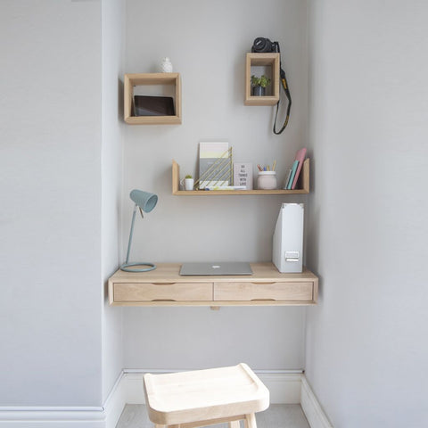 oak floating desk