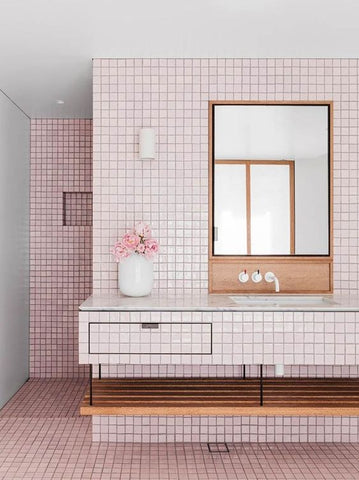 pink beach house bathroom