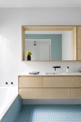 plywood bathroom