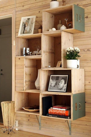 shelves with photos