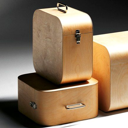 Wooden LP storage boxes by Harri Koskinen