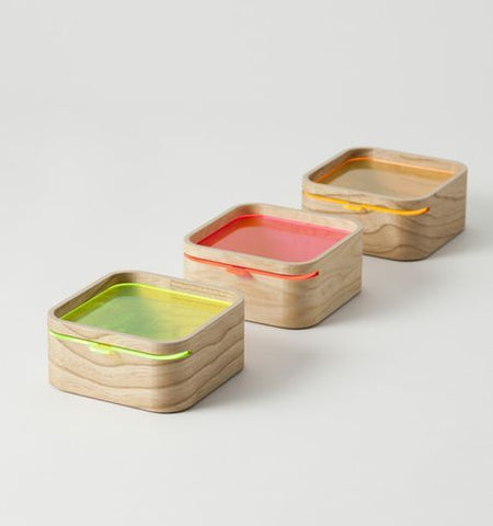 Wooden boxes with fluoro acrylic lids