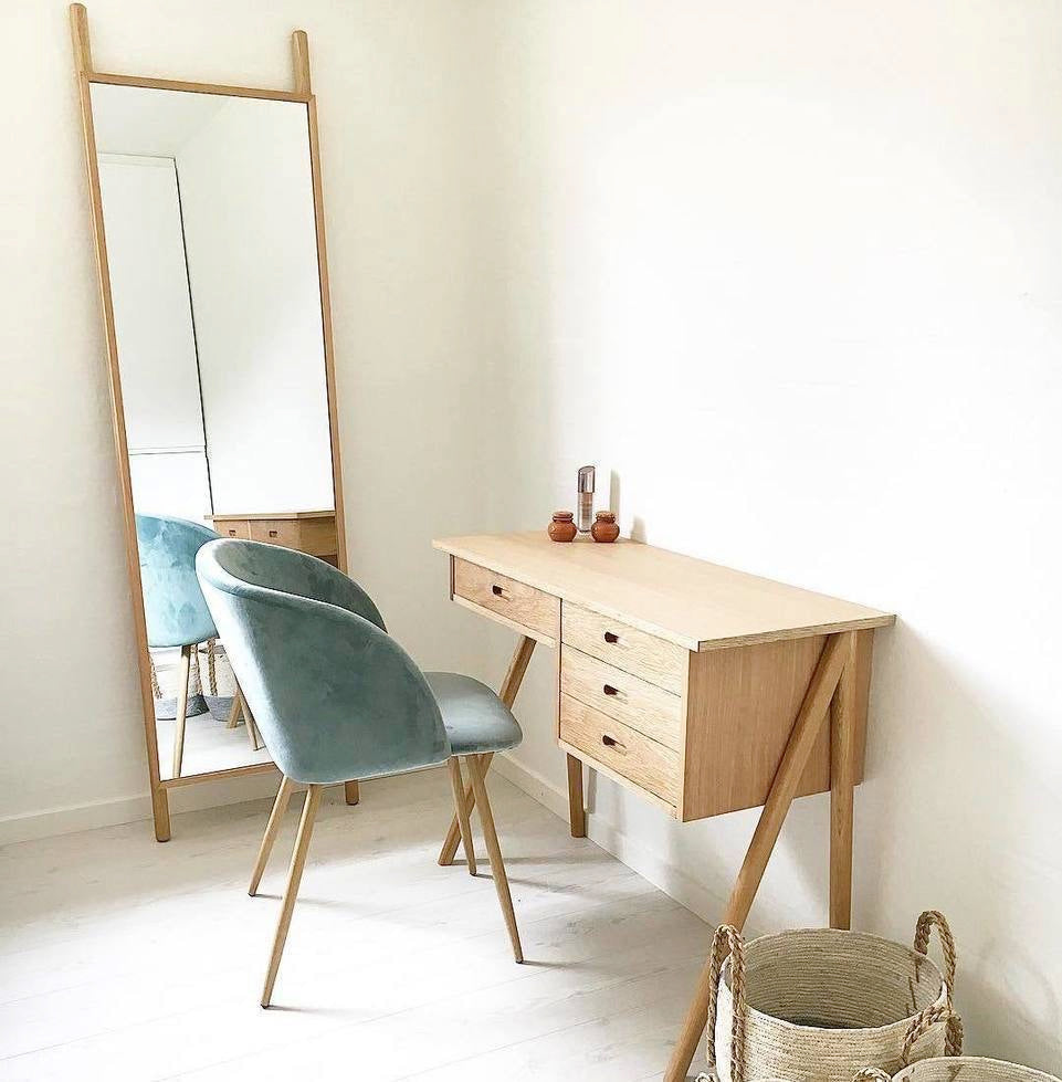 Oak Desk Scandinavian Style With 3 Drawers