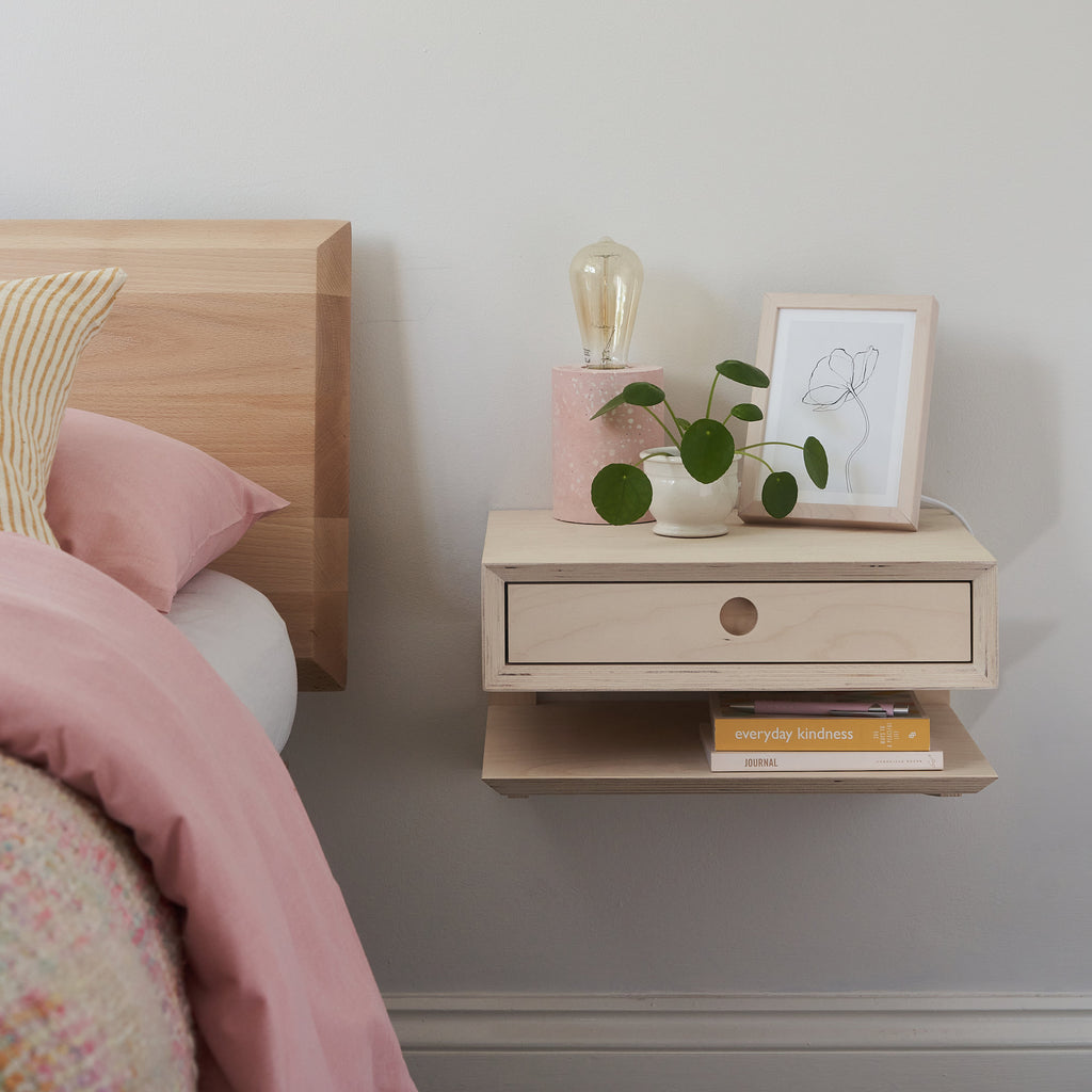 Plywood Floating Bedside Table