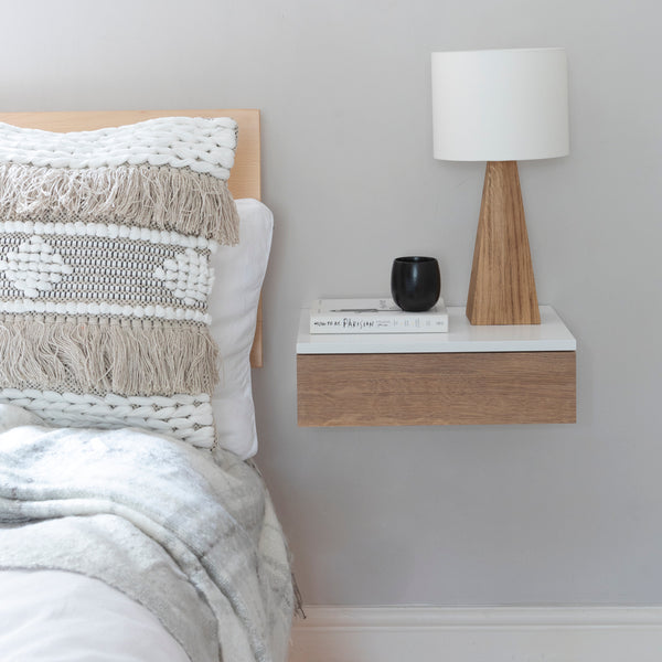 Floating Oak Front Bedside Drawer