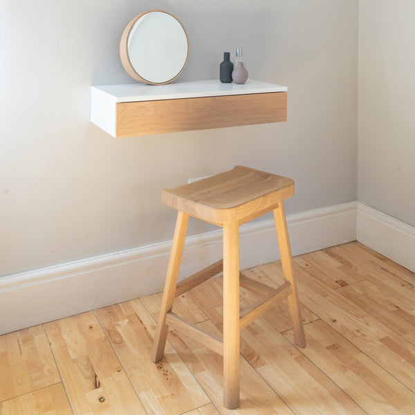 Small Floating Dressing Table With Oak Front