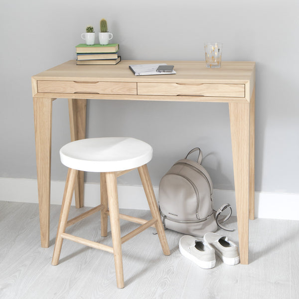 oak desk with white stool