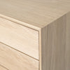 oak double drawer bedside close up view